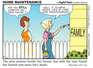 Taking care of a family requires a lot of hard work. This cartoon is a salute to mothers. May 4, 2008