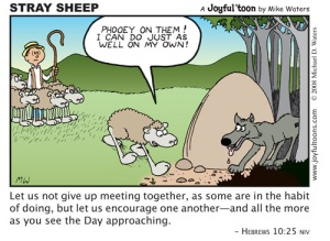 This cartoon is an encouragement to Christians to remain faithful in church attendance. We need the benefits that come from being a part of a group of fellow believers. August 17, 2008