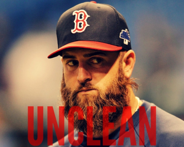 Oct 8, 2013; St. Petersburg, FL, USA; Boston Red Sox first baseman Mike Napoli (12) looks on prior to game four of the American League divisional series agains the Tampa Bay Rays at Tropicana Field. Mandatory Credit: Steve Mitchell-USA TODAY Sports